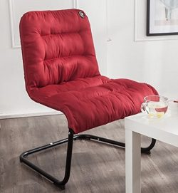 Zenree Comfortable Padded Collapsible Armless Accent Lounge Chair Flame Red Combed Poly Soft Cus ...