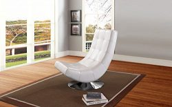 Wholesale Interiors Baxton Studio Elsa Faux Leather Upholstered Swivel Chair with Metal Base, La ...