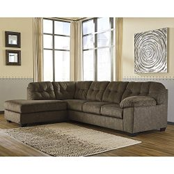 Flash Furniture Signature Design by Ashley Accrington 2-Piece RAF Sofa Sectional in Earth Microfiber