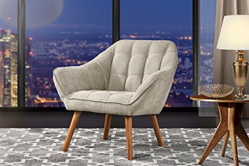 Accent Chair for Living Room, Linen Arm Chair with Tufted Detailing and Natural Wooden Legs (Beige)