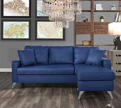 Divano Roma Furniture Bonded Leather Sectional Sofa – Small Space Configurable Couch (Blue)