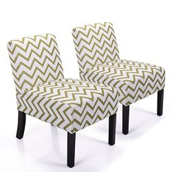 JAXPETY Leisure Armless Accent Chair Wave Print Fabric Armless Living Room Bedroom Office Contem ...