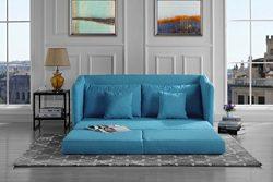 Modern Soft Linen Fabric Modular / Convertible Sleeper Sofa (Blue)