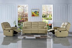 Traditional Classic Reclining Sofa Set – Real Grain Leather – Double Recliner, Loves ...