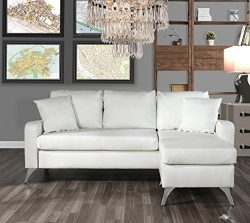 Divano Roma Furniture Bonded Leather Sectional Sofa – Small Space Configurable Couch (White)