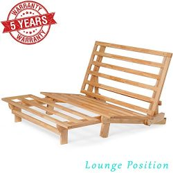 Queen Size Tri-Fold Wood Futon Sofa Bed Lounger Frame – (Space Saver, Natural Finish) Idea ...