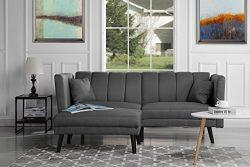 Divano Roma Furniture Mid-Century Modern Linen Fabric Futon Sofa Bed, Living Room Sleeper Couch  ...