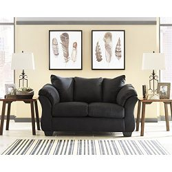Flash Furniture Signature Design by Ashley Darcy Loveseat in Black Microfiber