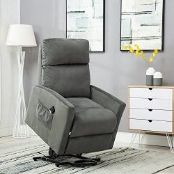 BONZY Lift Chair Power Reclining and Lifting Motion Recliner – Blue Gray