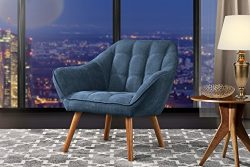 Accent Chair for Living Room, Linen Arm Chair with Tufted Detailing and Natural Wooden Legs (Blue)