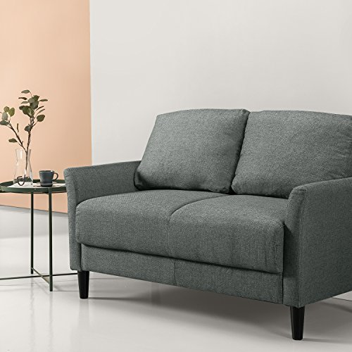 Zinus Classic Upholstered Loveseat Grey With Hint Of Green Gvdesigns Gvdesigns