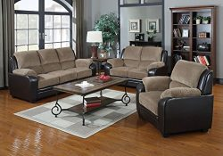 Container Direct Rocco Two-Toned Faux Leather and Corduroy 3 Piece Living Room Set with Sofa, Ch ...