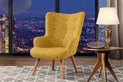 Accent Chair for Living Room, Upholstered Linen Arm Chairs with Tufted Button Detailing and Natu ...