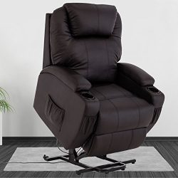 Mecor Power Lift Recliner Leather Wall Hugger Recliner Chair Living Room Lounge Seat (Brown)