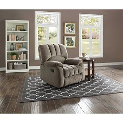 Mainstays Recliner with Pocketed Comfort Coils, Grey Fabric, Dimensions: 34″W x 37.5″ ...
