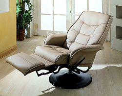 Coaster Home Furnishings  Modern Contemporary Upholstered Padded Arm Swivel Lounger Recliner &#8 ...