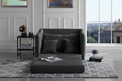 Modern Soft Linen Fabric Modular / Convertible Sleeper Chair (Dark Grey)