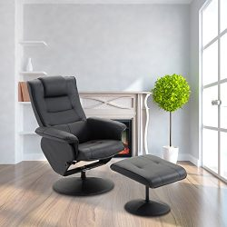Cloud Mountain PU Leather Recliner Chair and Ottoman Leisure Swivel Lounge Living Room Furniture ...