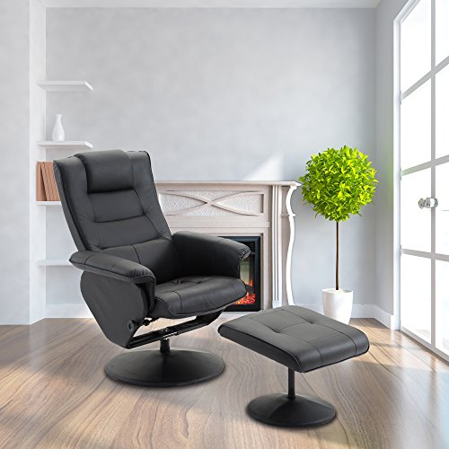 Cloud Mountain Pu Leather Recliner Chair And Ottoman Leisure Swivel Lounge Living Room Furniture