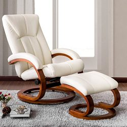 Haper & Bright Designs Swivel Recliner and Ottoman Beige Leather Lounge Seat with Foot Stool ...