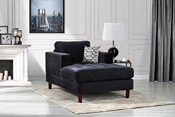 Mid Century Modern Velvet Fabric Living Room Chaise Lounge (Black)