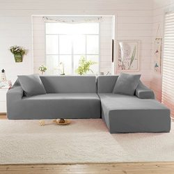 Littlegrass Stretch Sectional Sofa Covers for L Shape Polyester Fabric Elastic Couch Slipcovers  ...