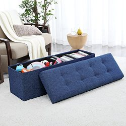Ellington Home Foldable Tufted Linen Large Storage Ottoman Bench Foot Rest Stool/Seat – 15 ...