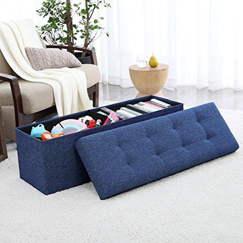 Ellington Home Foldable Tufted Linen Large Storage Ottoman Bench Foot Rest Stool/Seat – 15 ...