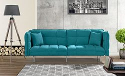 Modern Plush Tufted Velvet Fabric Splitback Living Room Sleeper Futon (Sky Blue)