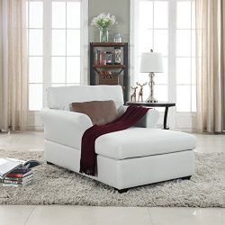 Large Classic Linen Fabric Living Room Chaise Lounge (Beige)