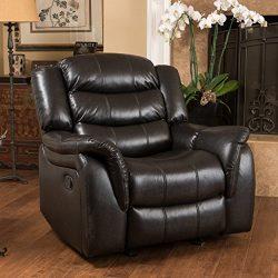 Merit Black Leather Recliner/Glider Chair