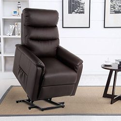 Esright Massage Chair Power Lift Recliner Wall Hugger PU Leather with Remote Control (Brown)