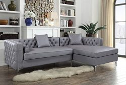 Iconic Home Da Vinci Right Hand Facing Sectional Sofa L Shape Chaise PU Leather Button Tufted wi ...