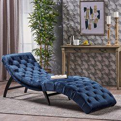 Garamond Cobalt Velvet Chaise Lounge