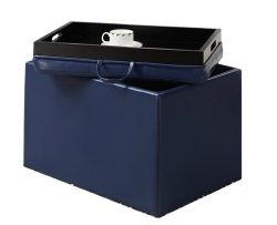 Convenience Concepts Designs4Comfort Modern Accent Storage Ottoman, Blue
