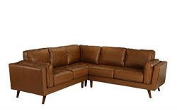 Divano Roma Furniture – Mid Century Modern Tufted Real Leather Sectional Sofa (Camel)