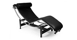 Kardiel Gravity Chaise Lounge, Black Aniline Leather