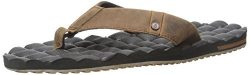 Volcom Men's Recliner Leather Sandal Flip Flop, Vintage Brown, 10 C/D US