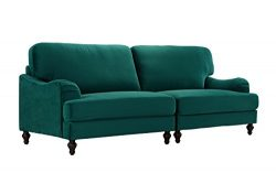 Classic 2 Piece Velvet Convertible Living Room Sofa, Adjustable Couch (Green)