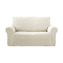Deconovo Jacquard Stretch Solid Color Small Checked Loveseat Cover Spandex Polyester Sofa Slipco ...
