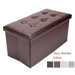 Bonnlo Large 30″ Faux leather Folding Storage Ottoman Cube Bench/Foot Rest Seat/Coffee Tab ...
