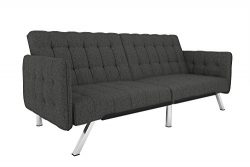 DHP Emily Convertible Futon and Sofa Sleeper, Modern Style with Tufted Cushion, Arm Rests and Ch ...