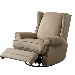 BONZY Recliner Wingback Swivel Gliding Recliner Chair – Sand