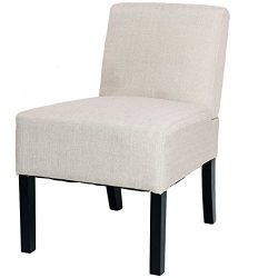Giantex Accent Chair Living Room Modern Comfortable Single Deco Bedroom Room Office Beige Armles ...