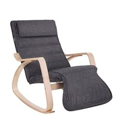 SONGMICS Relax Rocking Chair/Lounge chair/Recliners/Gliders with 5-way Adjustable Footrest, Natu ...