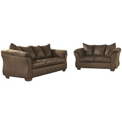 Flash Furniture Signature Design by Ashley Darcy Living Room Set in Cafe Microfiber
