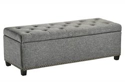 First Hill Rectangular Storage Ottoman Bench, Large, Stone Grey