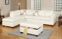 3PC Bonded Leather White Modern Reversible Sectional Couch- Sofa Chaise Ottoman