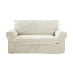 Deconovo Jacquard Stretch Solid Color Small Checked White Loveseat Sofa Covers 2 Pieces Spandex  ...