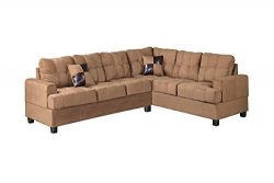 Poundex Bobkona Leo Microfabric 2-Piece Reversible Sectional Sofa, Saddle